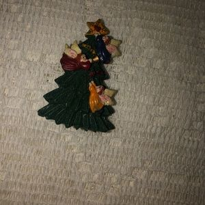 Vintage Christmas tree brooch star & angels
